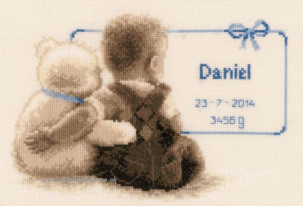 My Favourite Teddy Sepia Birth Sampler Cross Stitch Kit
